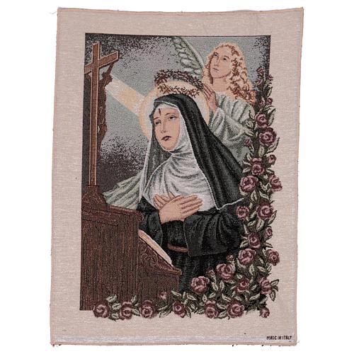 Arazzo Santa Rita in preghiera Angelo 50x40 cm 1