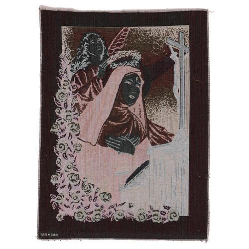 Arazzo Santa Rita in preghiera Angelo 50x40 cm 3