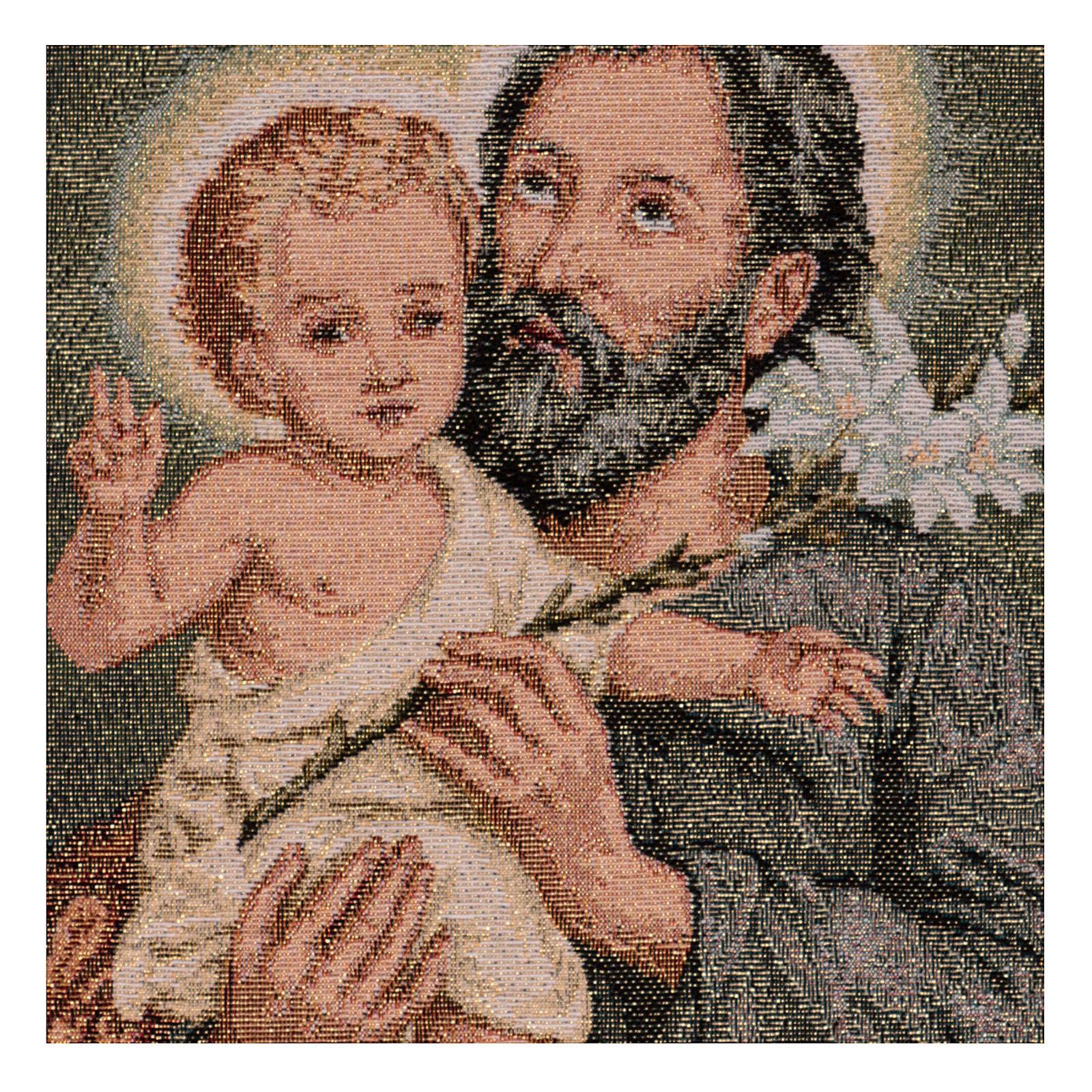Wandteppich Heiliger Josef mit Lilie 40x30 cm 3