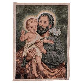 Wandteppich Heiliger Josef mit Lilie 40x30 cm s1