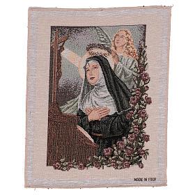 Arazzo Santa Rita in preghiera Angelo 40x30 cm s1