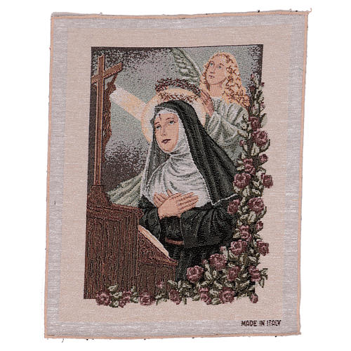 Arazzo Santa Rita in preghiera Angelo 50x30 cm 1