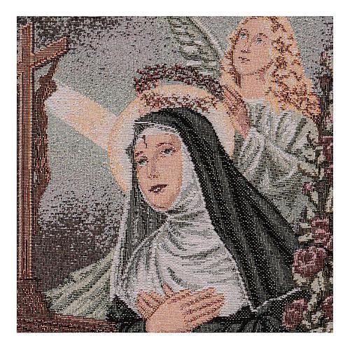 Arazzo Santa Rita in preghiera Angelo 50x30 cm 2