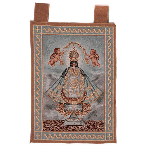 Arazzo Nuestra Señora de San Juan do Lagos cornice ganci 55x40 cm 1