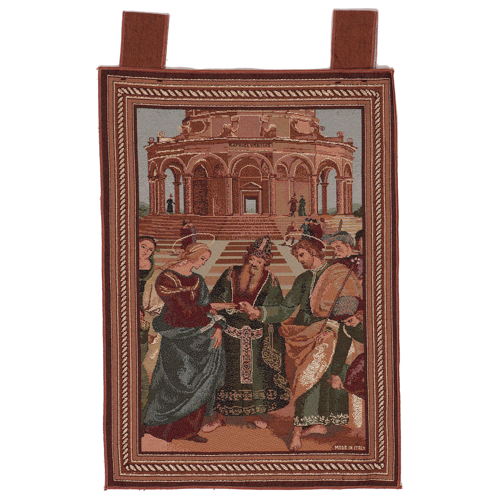 Arazzo Sposalizio della Vergine cornice ganci 55x40 cm 3