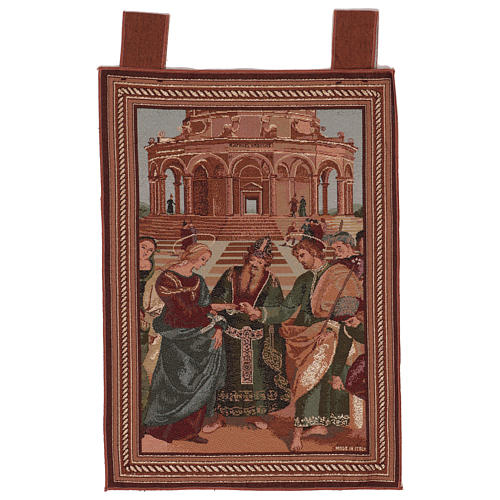 Arazzo Sposalizio della Vergine cornice ganci 55x40 cm 1