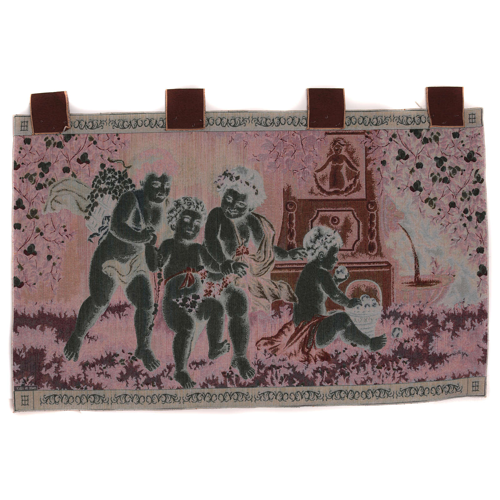 Putti tapestry with frame and hooks 60X120 cm 3