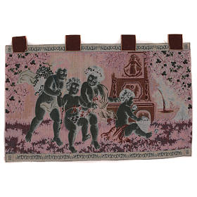 Putti tapestry with frame and hooks 60X120 cm s3