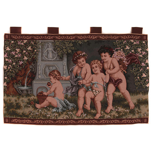 Putti tapestry wall hanging with loops 23.5x47