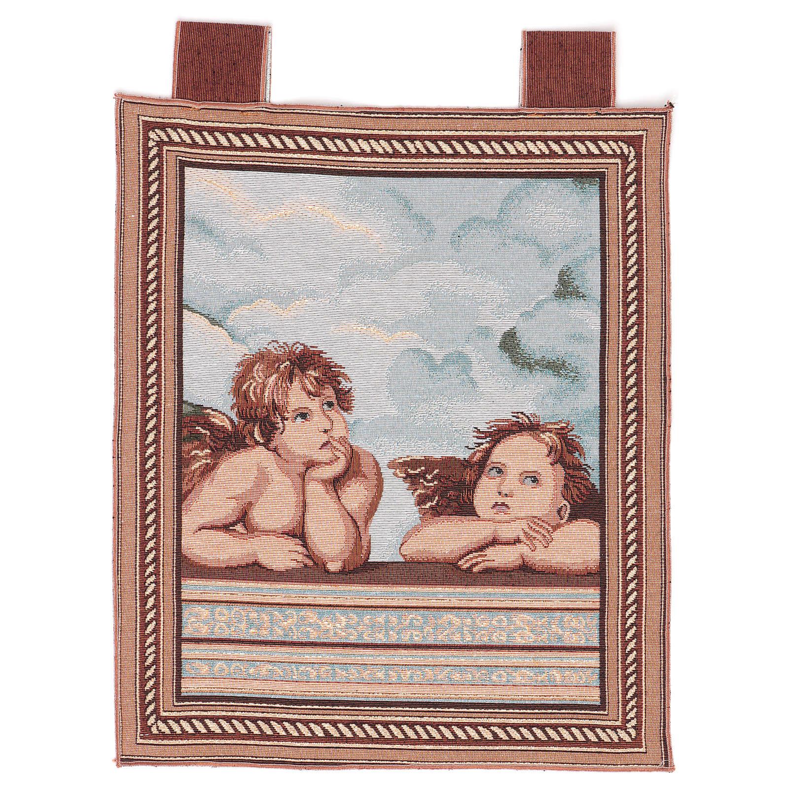 Arazzo Angeli di Raffaello cornice ganci 50x40 cm 3