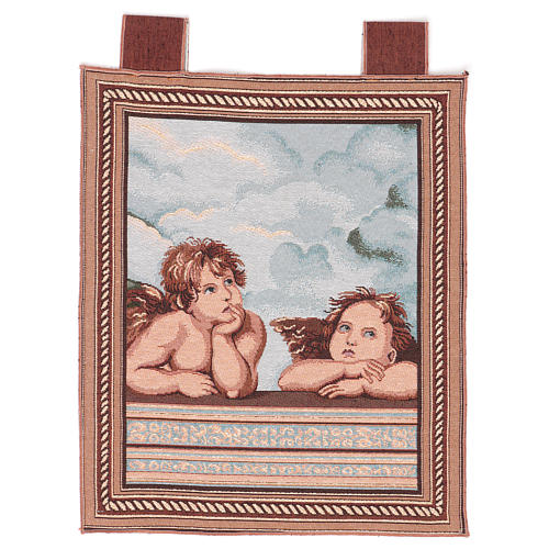 Arazzo Angeli di Raffaello cornice ganci 50x40 cm 1