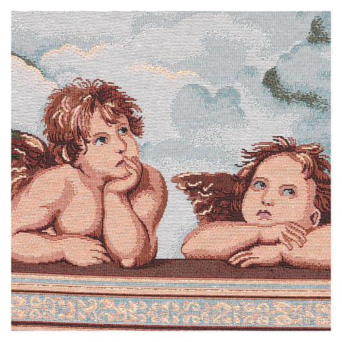 Arazzo Angeli di Raffaello cornice ganci 50x40 cm 2