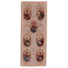Our Lady, Saint John the baptist, Jesus Christ, the 4 Evangelists golden tapestry 40x90 cm s1