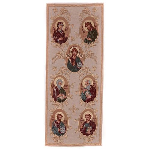 Our Lady, Saint John the baptist, Jesus Christ, the 4 Evangelists golden tapestry 40x90 cm 1