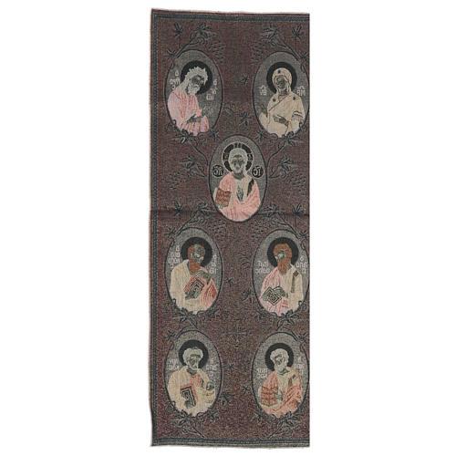 Our Lady, Saint John the baptist, Jesus Christ, the 4 Evangelists golden tapestry 40x90 cm 3