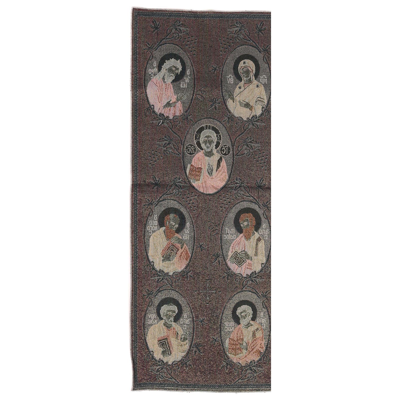 Arazzo oro Madonna, S. G. Battista, Cristo, 4 Evangelisti 40x90 cm 3