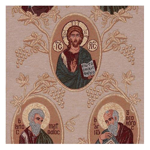 Arazzo oro Madonna, S. G. Battista, Cristo, 4 Evangelisti 40x90 cm 2
