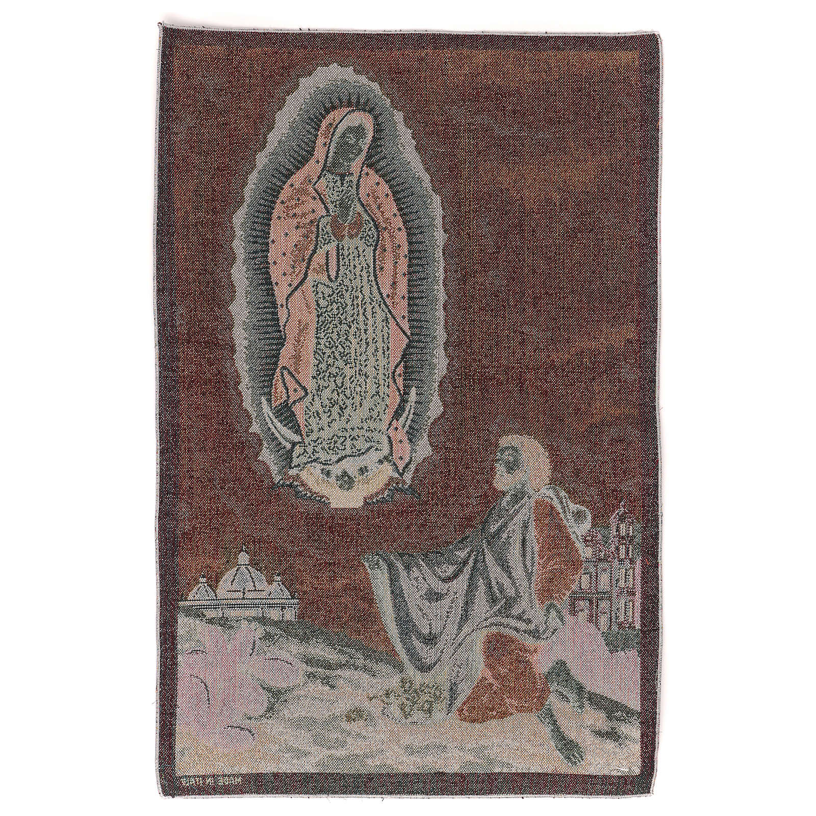 Apparition to Saint Juan Diego tapestry 23x15