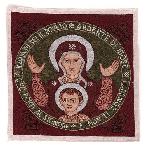 Arazzo Madonna del Roveto Ardente 40x40 cm 1