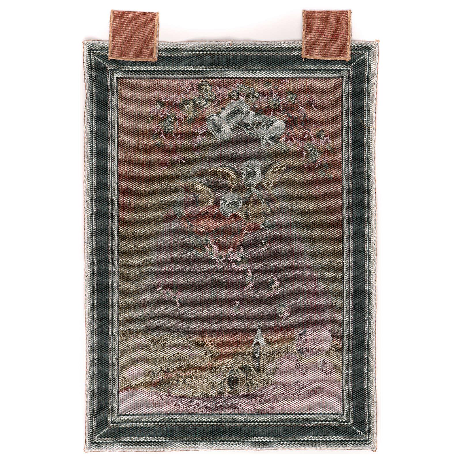 Tapisserie Anges avec fleurs cadre passants 50x40 cm 3
