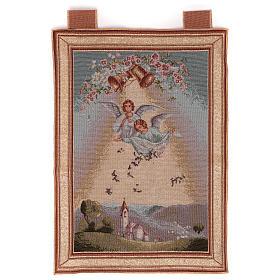 Arazzi: Arazzo Angeli con fiori cornice ganci 50x35cm
