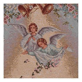 Arazzo Angeli con fiori cornice ganci 50x35cm s2