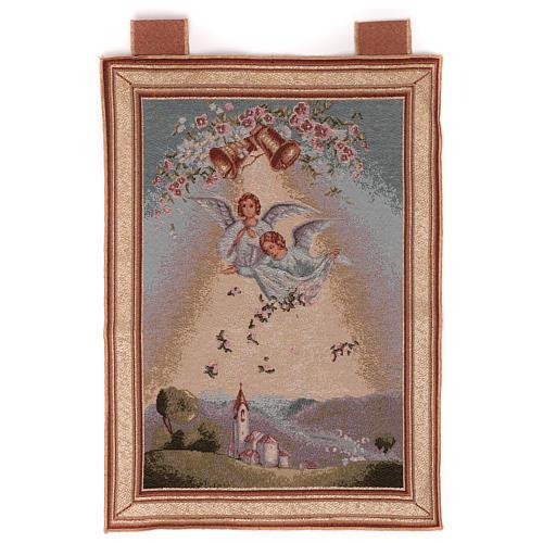 Arazzo Angeli con fiori cornice ganci 50x35cm 1