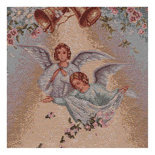 Arazzo Angeli con fiori cornice ganci 50x35cm 2
