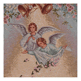 Angels with flowers wall tapestry with loops 21x14