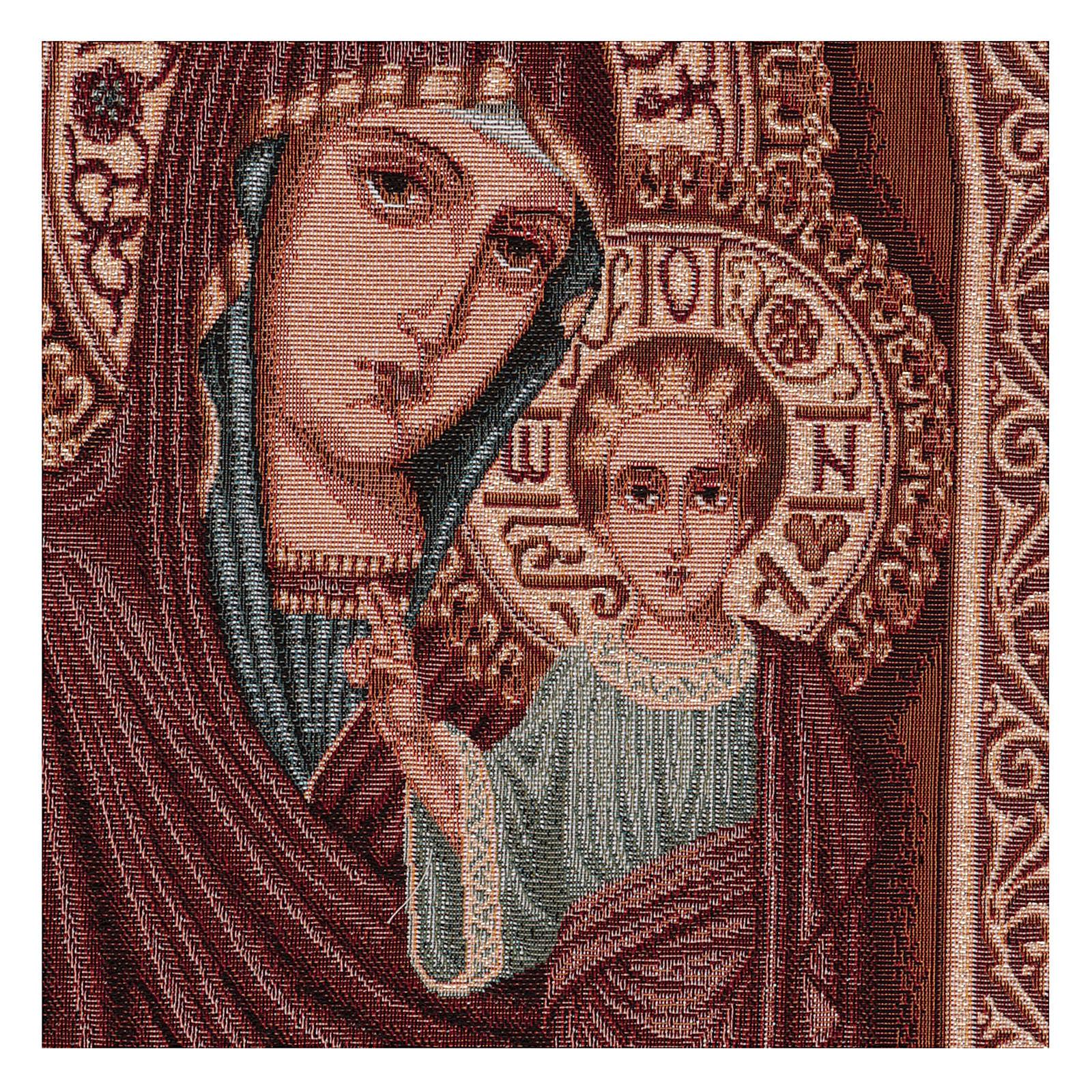 Arazzo Maria e Gesù Bizantini cornice ganci 55x40 cm 3