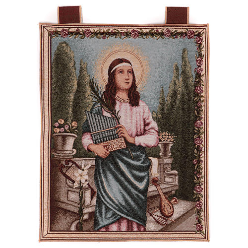 Saint Cecilia tapestry with frame and hooks 50x40 cm 1