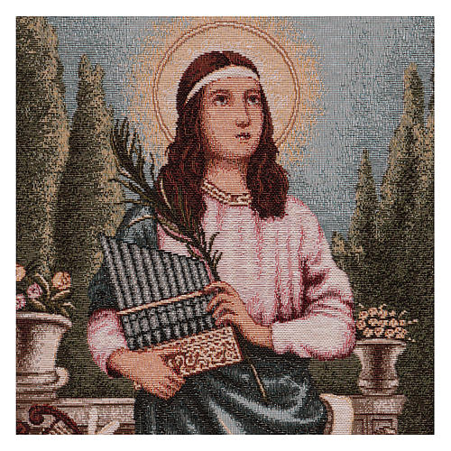Saint Cecilia tapestry with frame and hooks 50x40 cm 2
