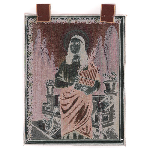 Saint Cecilia tapestry with frame and hooks 50x40 cm 3