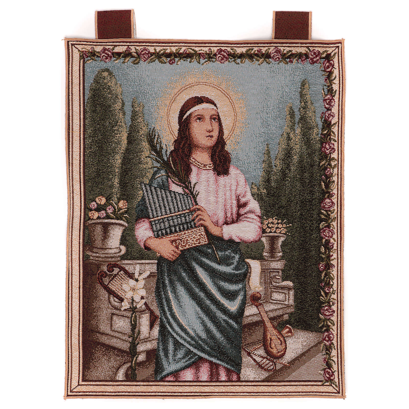 Arazzo Santa Cecilia cornice ganci 50x40 cm 3
