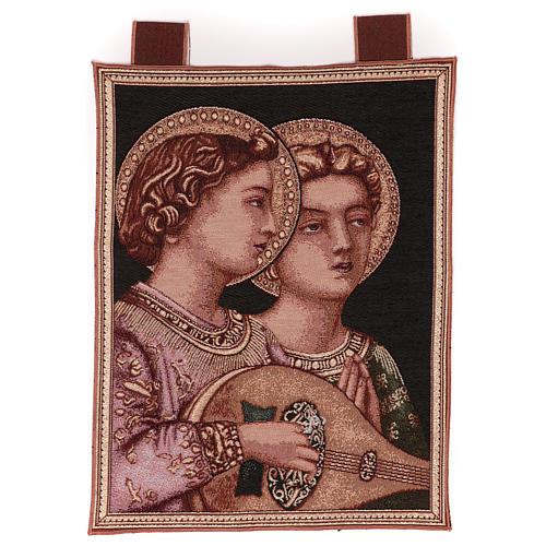 Arazzo Angeli Musicali cornice ganci 50x30 cm 1