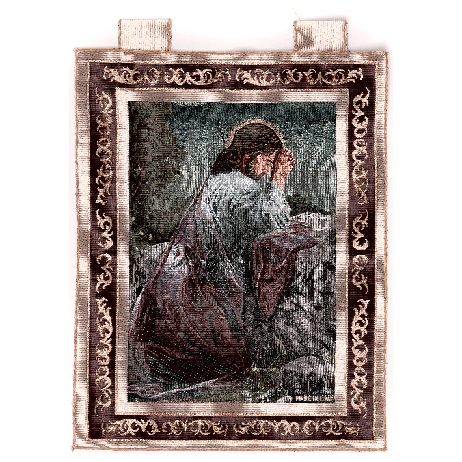Wandteppich Christus im Garten Gethsemane, mit Rahmen und Schlaufen 50x40 cm 3