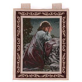 Wandteppich Christus im Garten Gethsemane, mit Rahmen und Schlaufen 50x40 cm s1