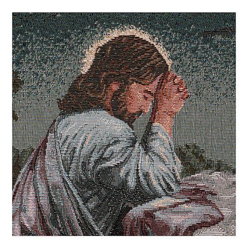 Wandteppich Christus im Garten Gethsemane, mit Rahmen und Schlaufen 50x40 cm 2