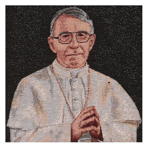 Arazzo nero Papa Luciani 40x30 cm 2