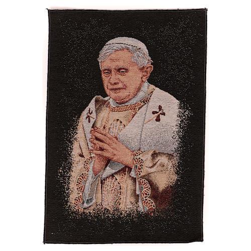 Arazzo nero Papa Benedetto XVI 40x30 cm 1