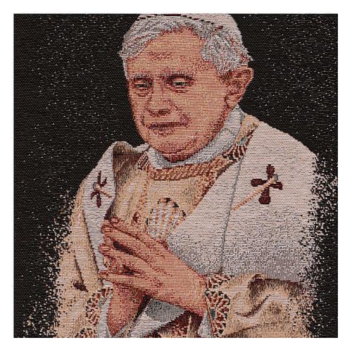 Arazzo nero Papa Benedetto XVI 40x30 cm 2
