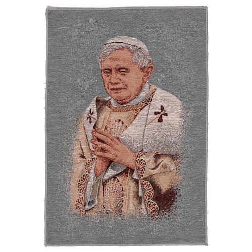 Tapisserie bleue Pape Benoît XVI 40x30 cm 1