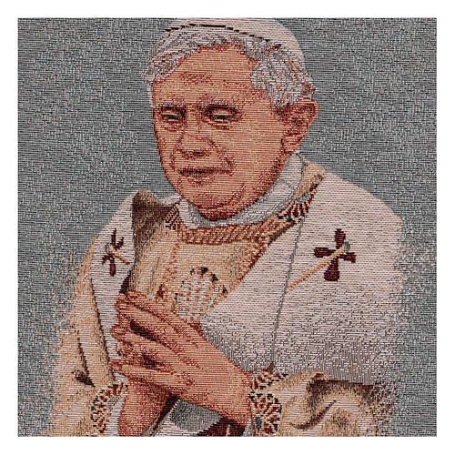 Tapisserie bleue Pape Benoît XVI 40x30 cm 2