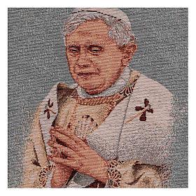 Arazzo azzurro Papa Benedetto XVI 40x30 cm s2