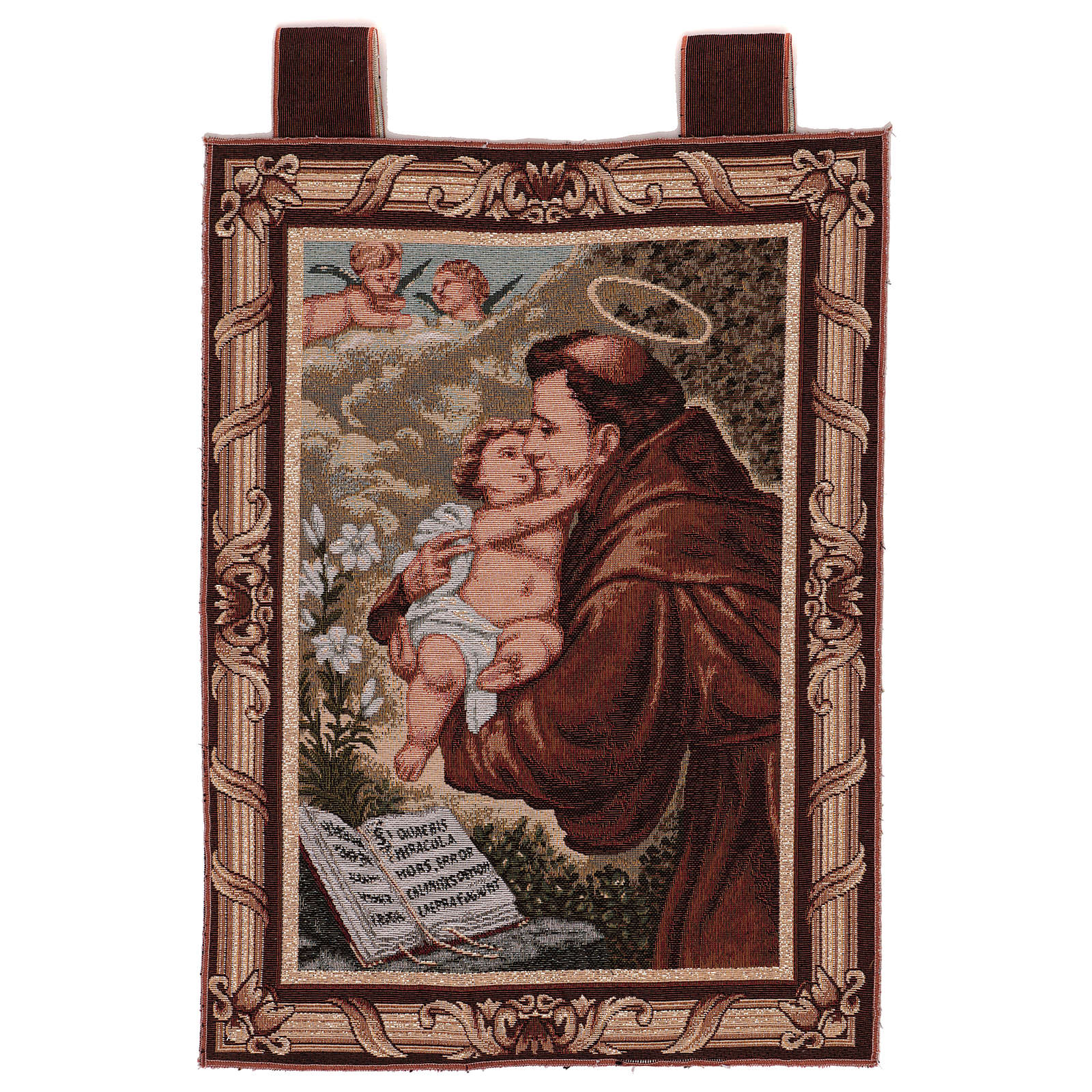 Saint Anthony of Padua tapestry with frame and hooks 50x40 cm 3