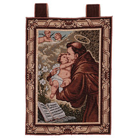 Saint Anthony of Padua tapestry with frame and hooks 50x40 cm s1