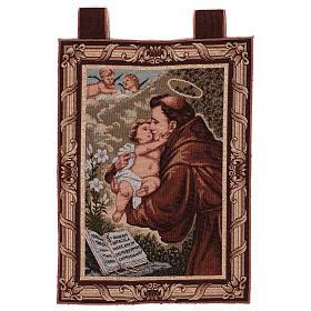 Arazzo S. Antonio da Padova Libro cornice ganci 50x40 cm s1