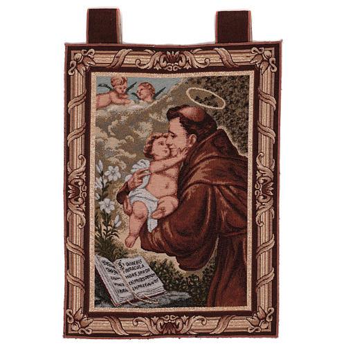 Arazzo S. Antonio da Padova Libro cornice ganci 50x40 cm 1