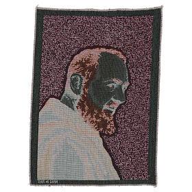 Gobelin Ojciec Pio złoty 40x30 cm s3
