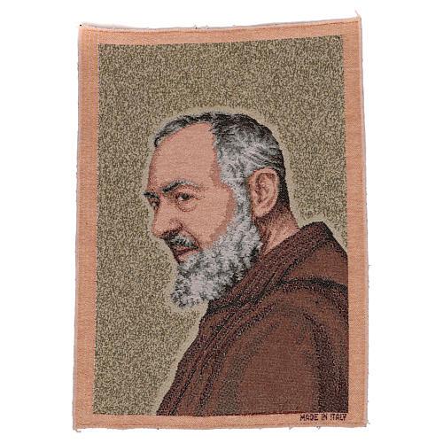 Gobelin Ojciec Pio złoty 40x30 cm 1